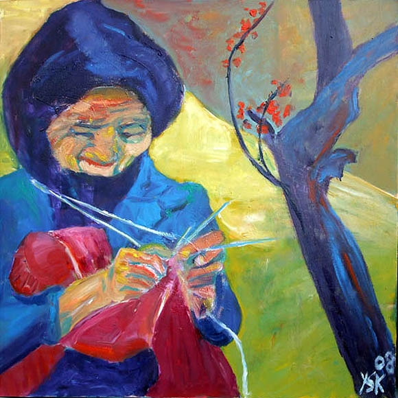 Happy Knitting, oil on canvas, 80 x 80 cm- SOLD!