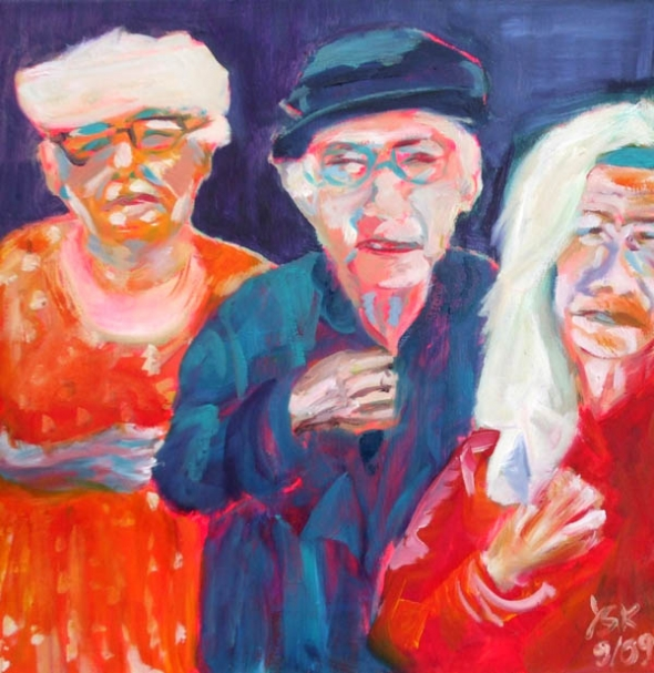 three friends, oil on canvas, 50X50cm