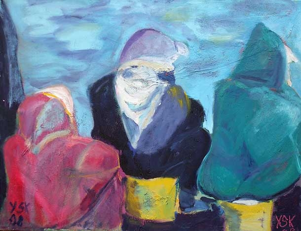 waiting for the fishermen, oil on canvas, 60X80cm